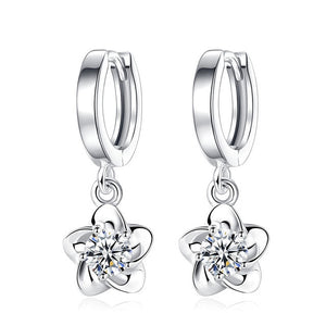 925 Sterling Silver Simulated CZ Flower Stud Earring
