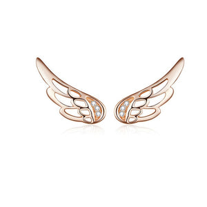 925 Sterling Silver Fairy Feather Wings Stud Earrings