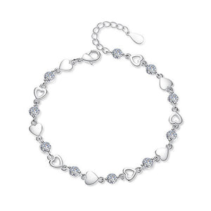 925 Sterling Silver Love Heart Simulated Cubic Zirconia Bracelet