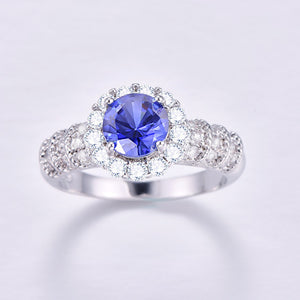 925 Sterling Silver Simutaed CZ Round Cut Design Wedding Engagement Ring
