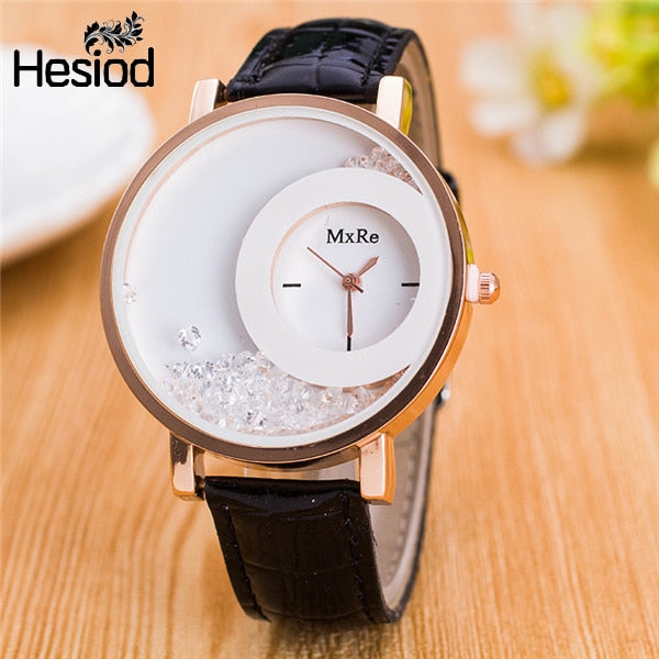 New Design Leather Strap Wrist Watch With Crystal Solid Color For Women