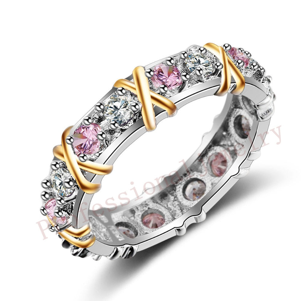 925 Sterling Silver Simulated Pink CZ Wedding Band Ring