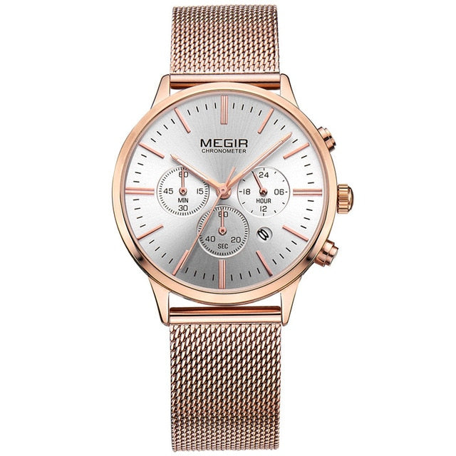 Business Chronograph Mesh Steel Classic Watch For Women