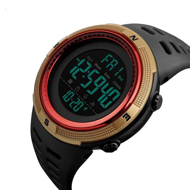 Men's Outdoor Sports with Countdown Double Time Alarm Chrono Digital Wristwatches 50M Waterproof
