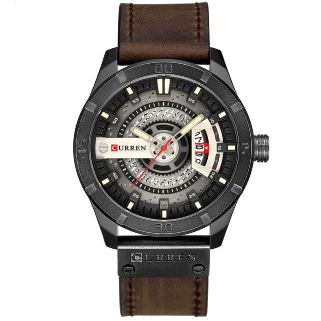 Men Military Sports Casual Leather Wrist Watch