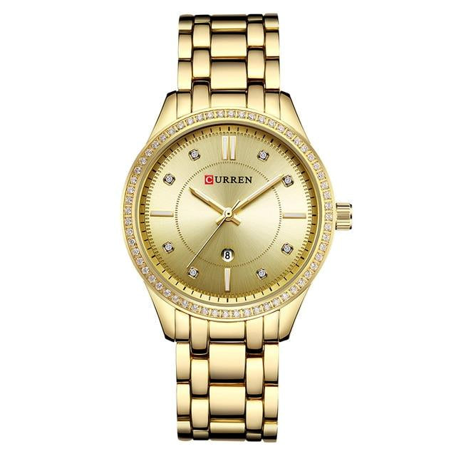Top Luxury Brand Wrist Watches with Diamond Golden Watchband For Women