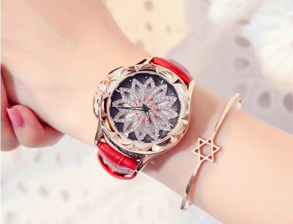 Crystal Real Leather Band With Big Dial Bracelet Wristwatch For Women