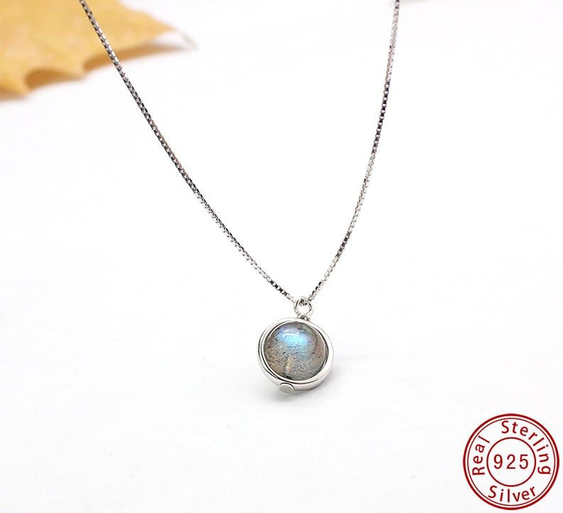 Genuine 925 Sterling Silver Labradorite Chain Pendant Necklace For Women