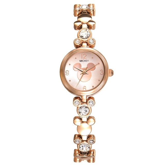 Mickey Mouse Bling Bracelet Gold Silver Steel Watches For Women