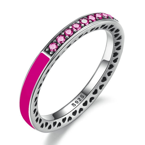 925 Sterling Silver Radiant Colored Simulated CZ & Enamel Ring for Women