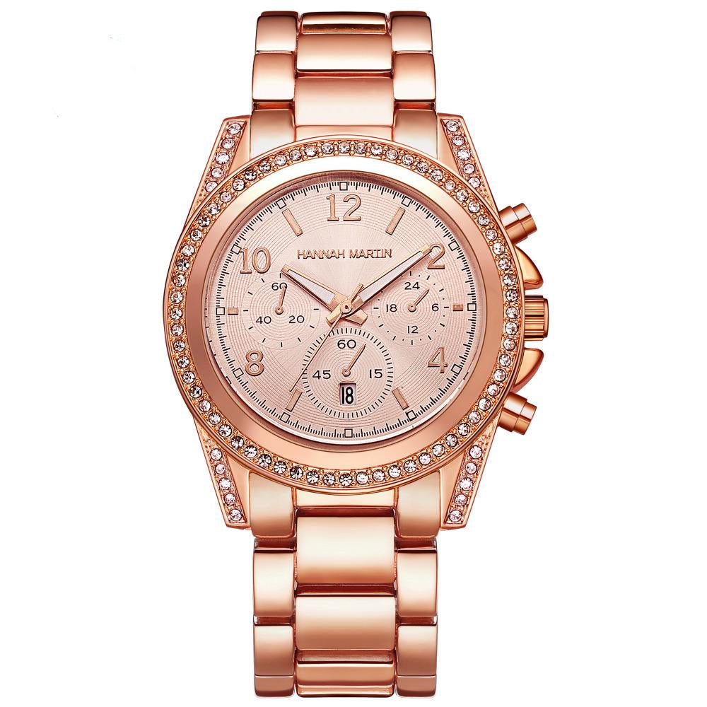 Rose Gold Calendar Wrist Watch For Women With  Waterproof