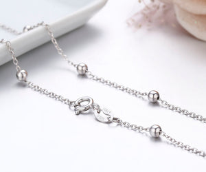 925 Sterling Silver Cross Beaded Chain Choker Necklaces For Women