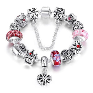 Queen Crown Beads Silver Charms Bracelet Bangle