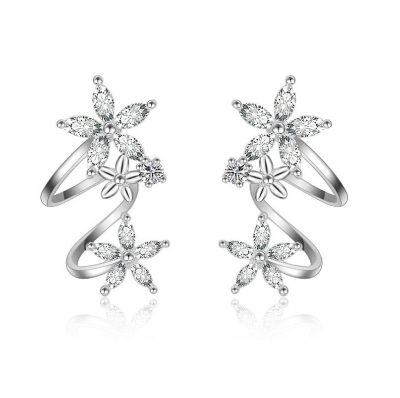 925 Sterling Silver Butterfly Star Flower CZ Zircon Stud Earrings For Women