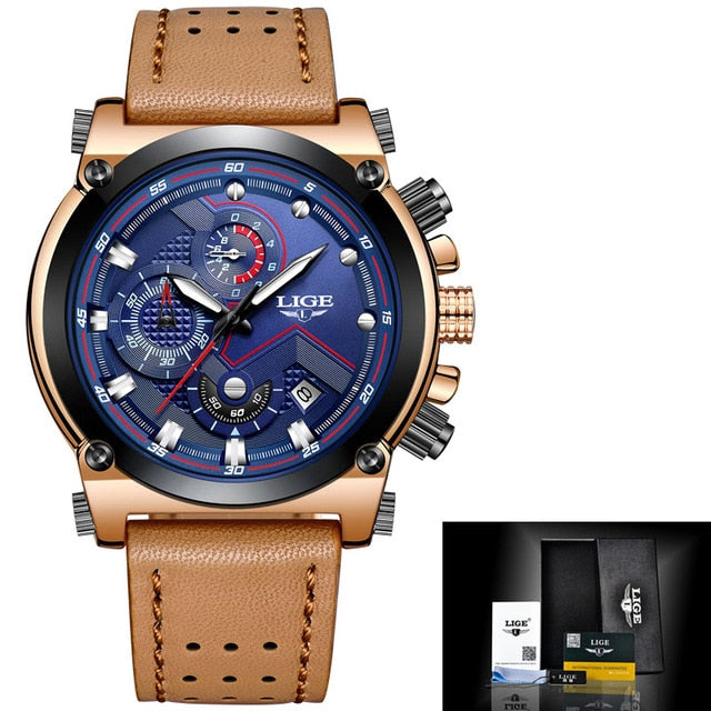 Male Watch Leather Automatic Date Quartz Waterproof Sport Clock