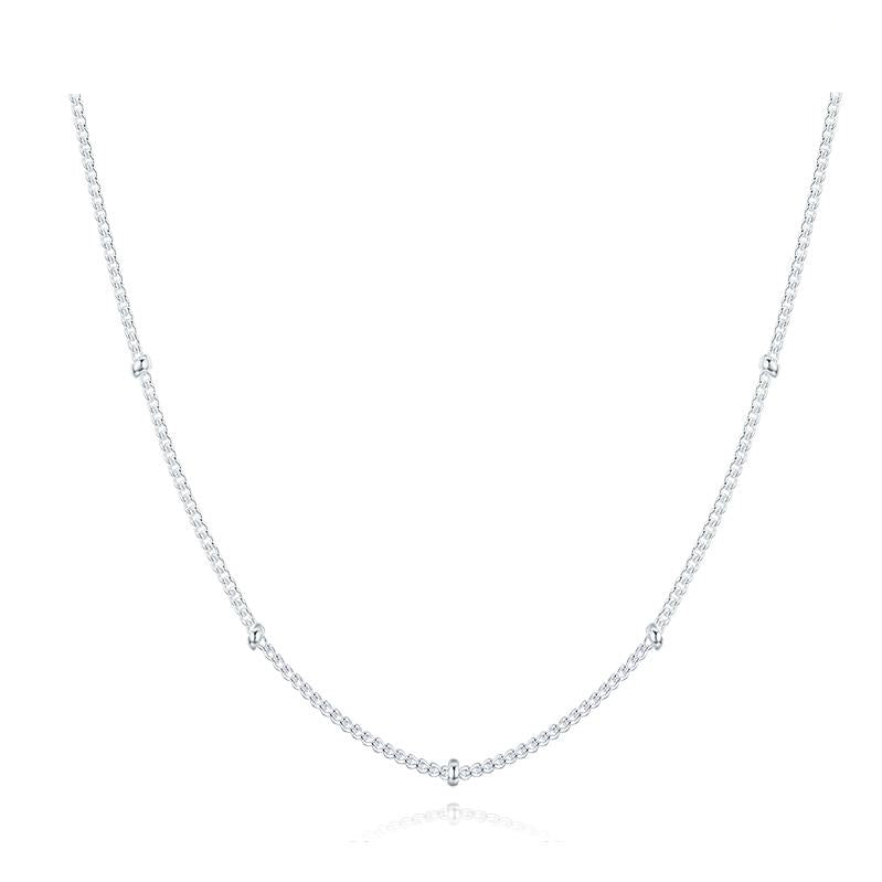 925 Sterling Silver Beads Curb Chain Choker Necklaces For Women