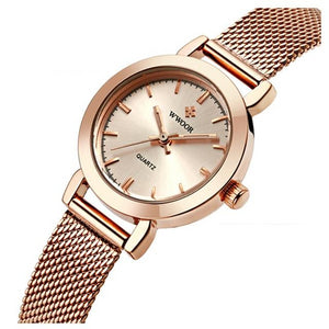 Casual Gold Stainless Steel Mesh Band Watch For Women