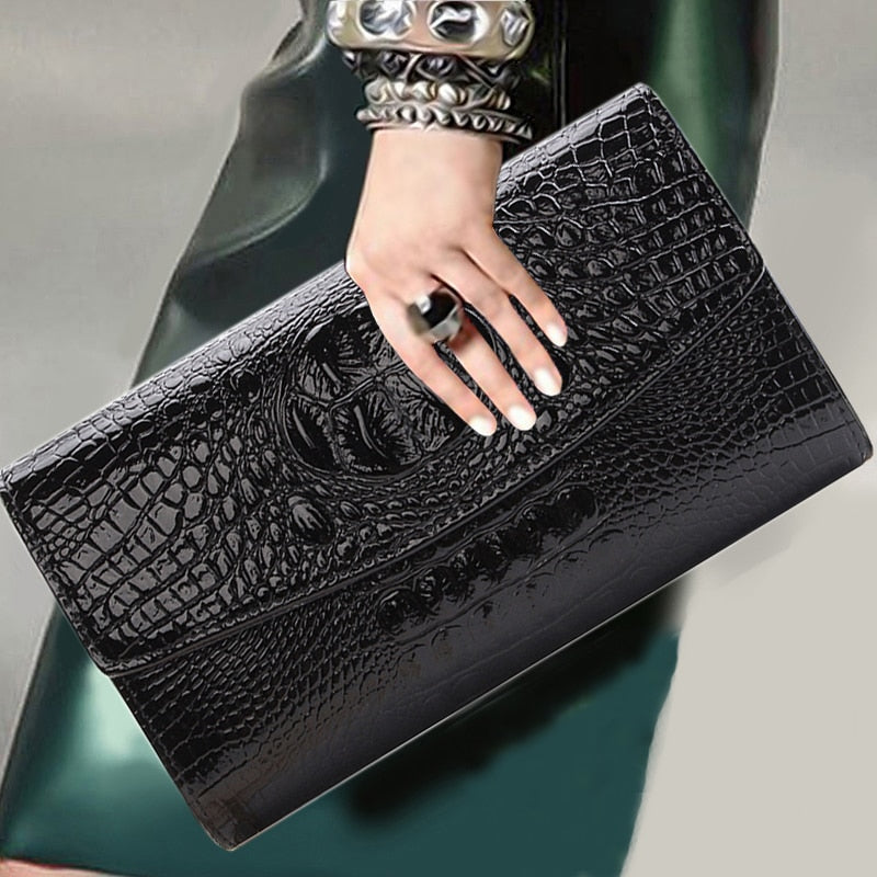 Black PU Leather Women Party Clutch Bag