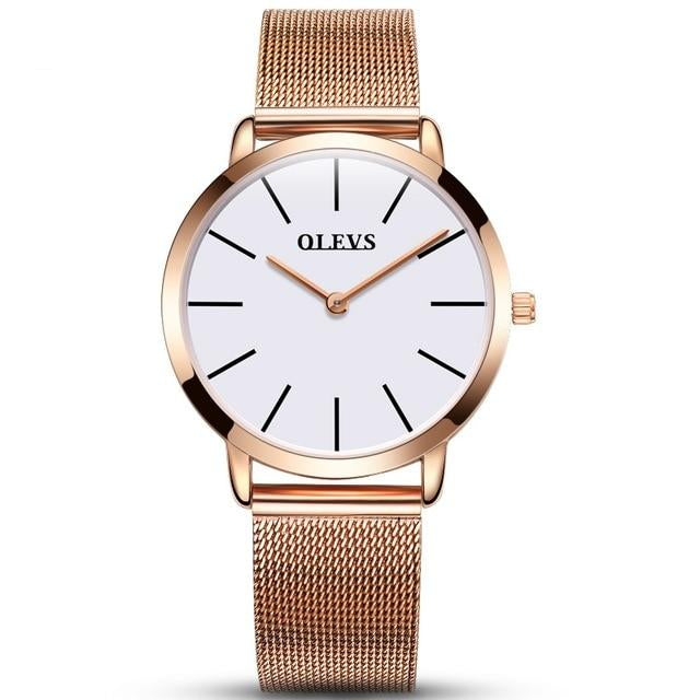 Calendar Wrist Watch With Ultra thin Waterproof Rose Gold Stainless Steel Quartz For Women