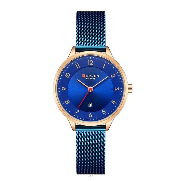New Style Stainless Steel Gold Round Watch For Women With Blue Color