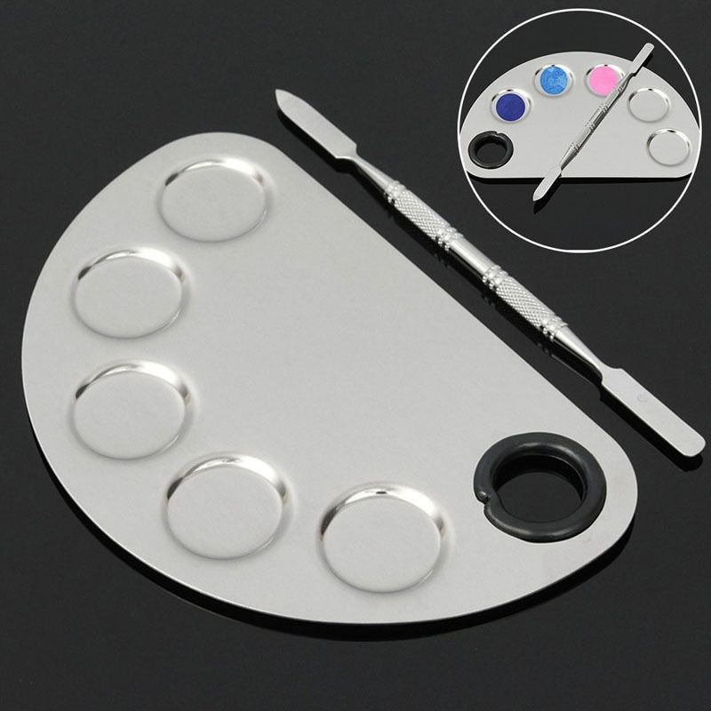 Pro Cosmetic Stainless Steel Makeup Semi Circle Moon Shape With Mixing Palette Set