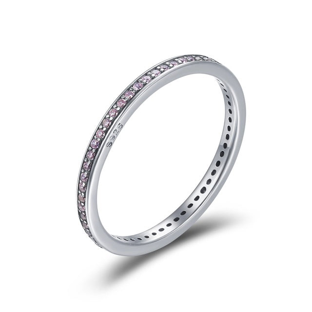 Authentic 925 Sterling Silver Simulated CZ Stackable Ring for Women