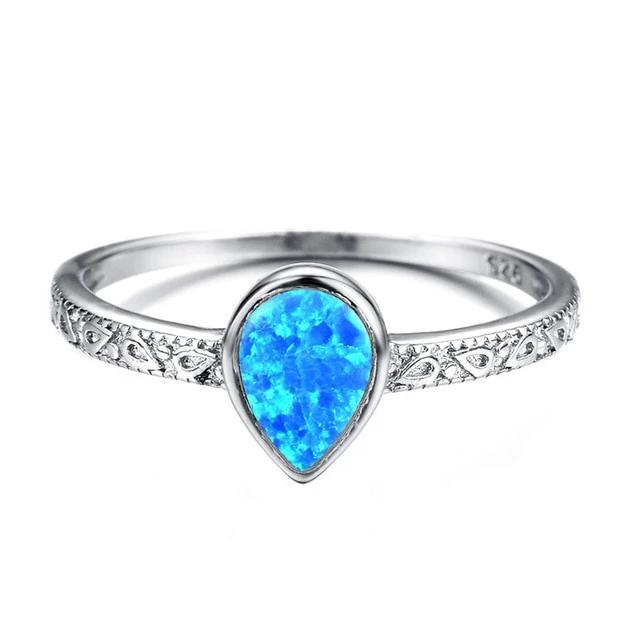 925 Sterling Silver Lab Created Opal Teardrop Ring