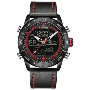 Sports Waterproof Multi function LED Chronograph Leather Wrist Watch Clock 9144