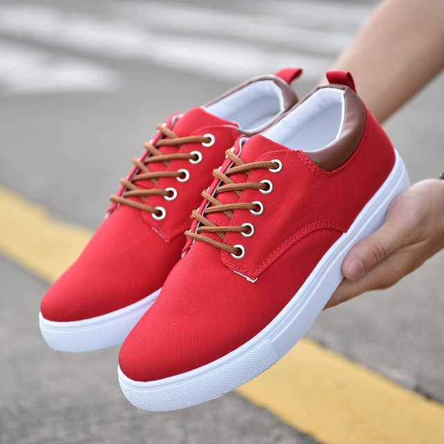 Men's, Casual Striped Canvas Lace Up Lightweight Breathable Shoes