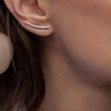 925 Sterling Silver Sweep CZ Long Wire Thread Ear Climber Earring