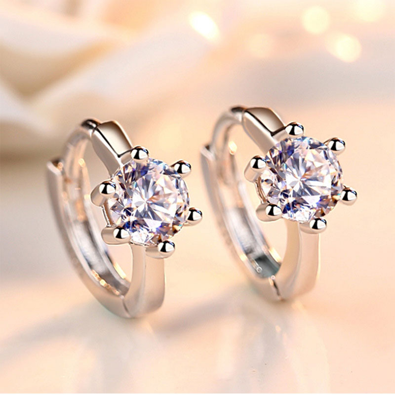 Heart Arrow Round Stud Earrings With 925 Sterling Silver Earrings For Women