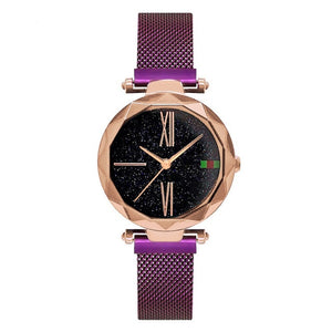 Starry Sky Magnet Buckle With Rose Gold Casual Wristwatch For Women