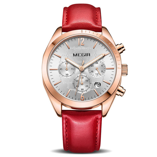 Pink Leather Clock Lovers Watch For Women