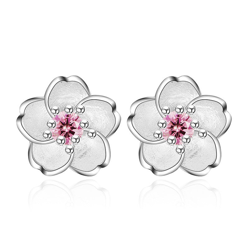 Cherry Blossoms Flower Crystal Earring With 100% 925 Sterling Silver For Women