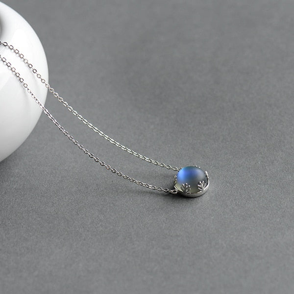 Pendant Chain Necklace With Halo Crystal Gemstone 925 Sterling Silver For Women