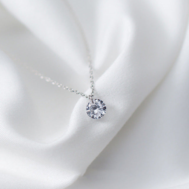 Round Crystal Pendant Necklace 925 Sterling Silver Jewelry For Women