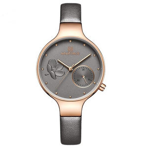 Top Brand Luxury Fashion For Women With Leather Waterproof Clock