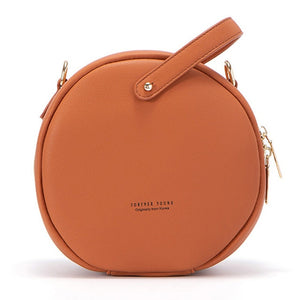 Circular Design PU Leather Women Messenger Shoulder Handbag