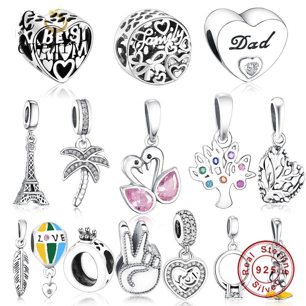 Paris Eiffel Tower Pendant Hanging Beads With 925 Sterling Silver For Women