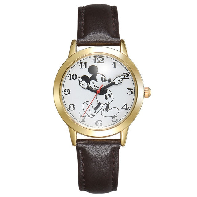 Disney Watch With Mickey Mouse For Women Leather Strap