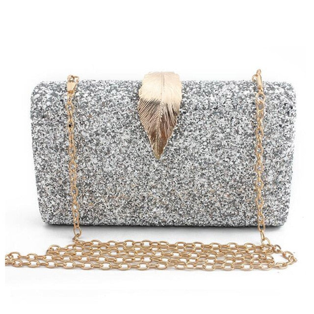 Metal Leaf Lock Evening Party  Women Clutch