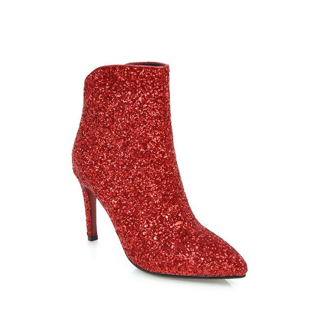 Woman Bling Sequined Big Size High Heels Ankle Boots