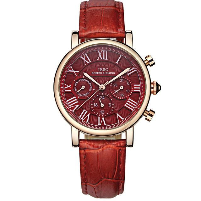 Red Leather Design Watch For Women With Calendar Multifunction