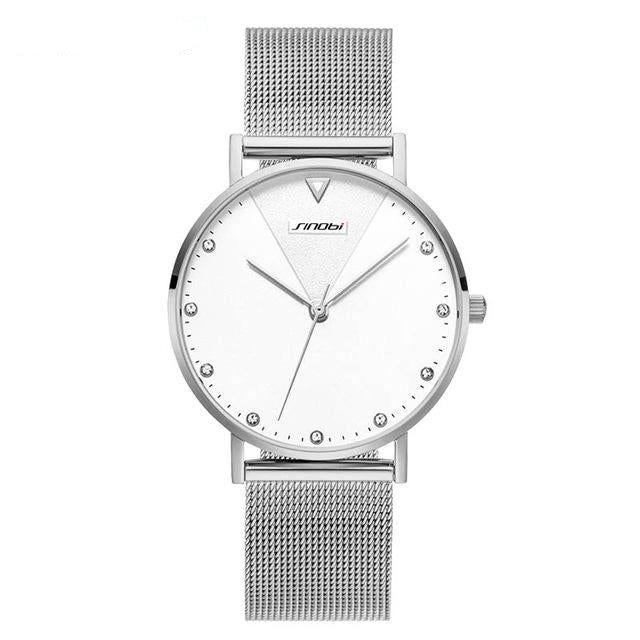 Simple Crystal Quartz For Women With Gold Watchband