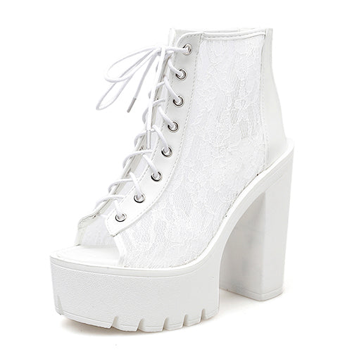 Woman Boots On Summer Mesh Rome Style With Lace Peep
