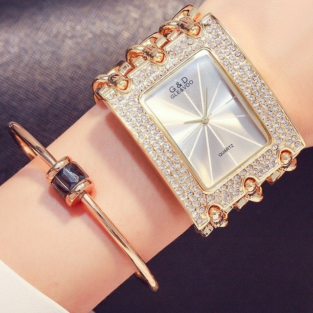 Diamonds Rectangle Dial With Stainless Steel Band Wrist Watch For Women