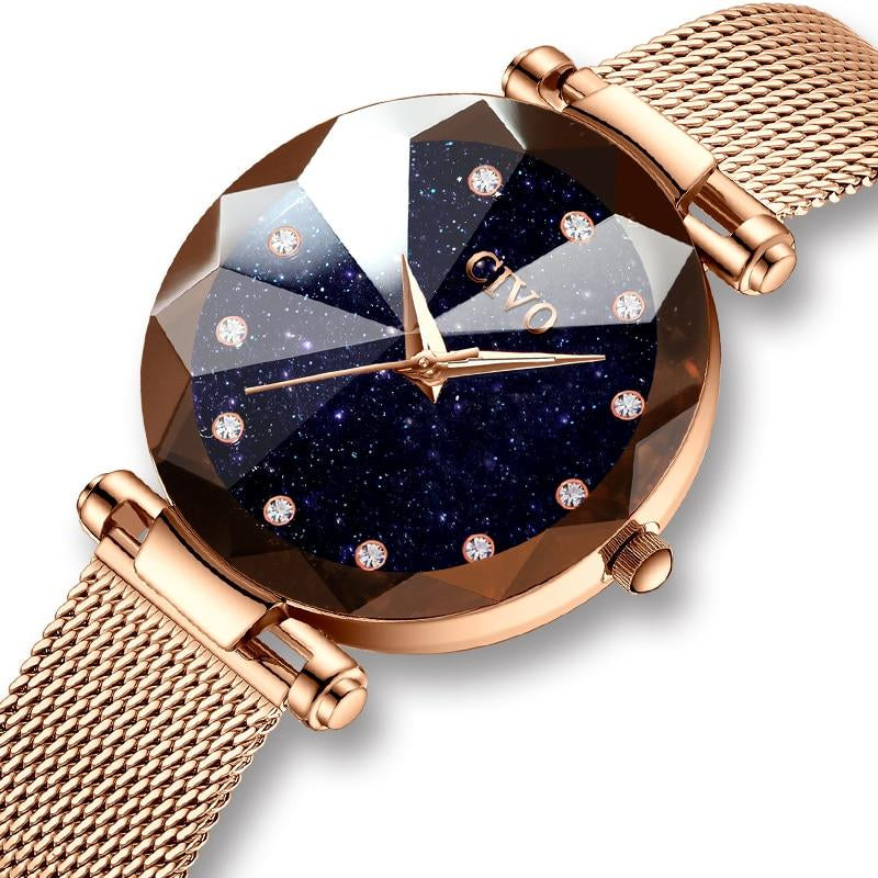 Latest Rose Gold Steel Mesh Watch For Women With Crystal Waterproof Watch