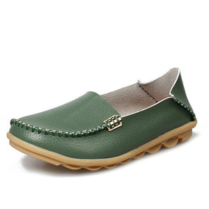 Women Casual Flats Genuine Leather & Slip On Loafers Cow Driving Shoes