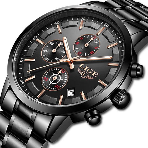 Male Sport Quartz Stainless Steel Waterproof Watch
