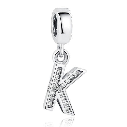 Original Crystal Alphabet A-Z Letter Pendant With 925 Sterling Silver For Women